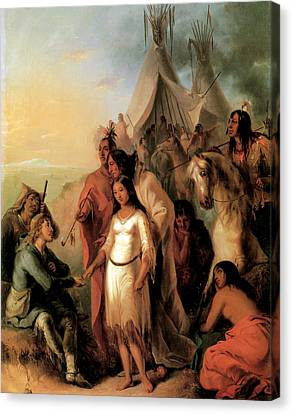 The Trappers Bride 1845 Canvas Print