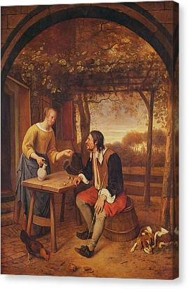 The Travellers Rest Oil Canvas Print by Jan Havicksz. Steen