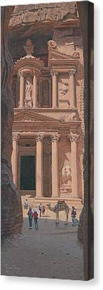 Petra Canvas Print - The Treasury Petra Jordan by Richard Harpum