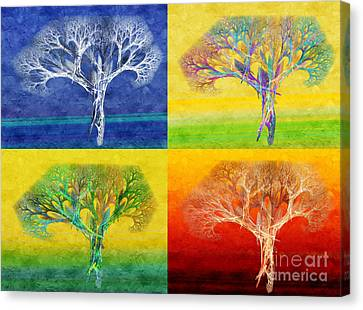 The Tree 4 Seasons - Painterly - Abstract - Fractal Art Canvas Print by Andee Design