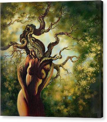 Canvas Print featuring the painting The Tree by Anna Ewa Miarczynska