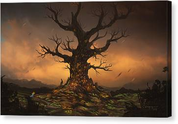 Europe Digital Art Canvas Print - The Tree by Cassiopeia Art