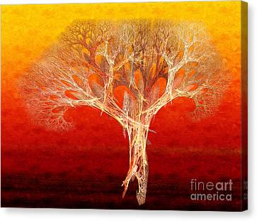 The Tree In Fall At Sunset - Painterly - Abstract - Fractal Art Canvas Print by Andee Design