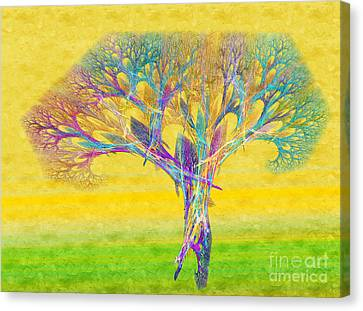 The Tree In Spring At Midday - Painterly - Abstract - Fractal Art Canvas Print by Andee Design