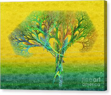 The Tree In Summer At Sunrise - Painterly - Abstract - Fractal Art Canvas Print by Andee Design