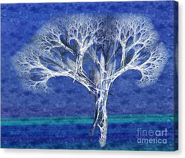 The Tree In Winter At Dusk - Painterly - Abstract - Fractal Art Canvas Print by Andee Design