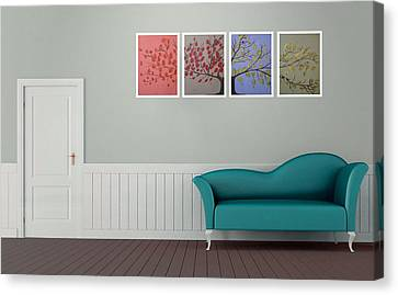 The Tree Of Life Artwork Painting Giclee On Rag Paper Triptych Cute Bird Art