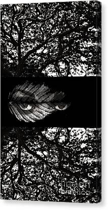 Canvas Print featuring the digital art The Tree Watcher by Nola Lee Kelsey