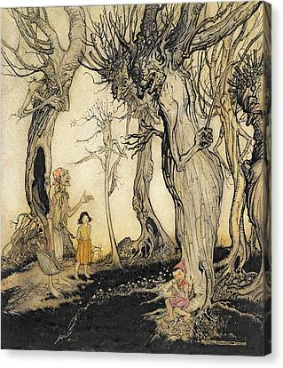 Conversing Canvas Print - The Trees And The Axe, From Aesops by Arthur Rackham