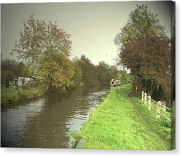 The Trent And Mersey Canal Near Clay, Autumnal Towpath Canvas Print