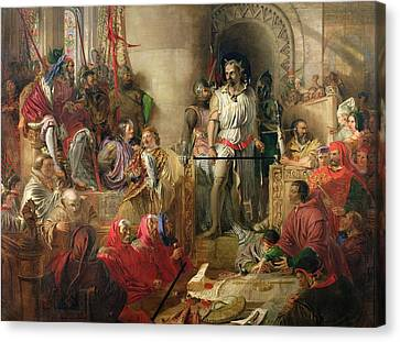 Scottish Dog Canvas Print - The Trial Of Sir William Wallace At Westminster Oil On Canvas by William Bell Scott