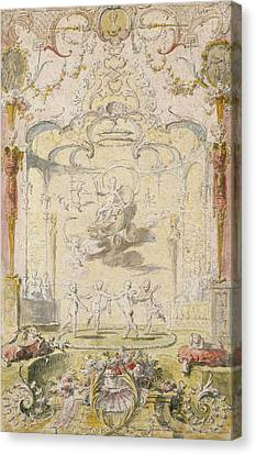 The Triumph Of Love Ink & Wc On Paper Canvas Print by Claude Gillot