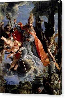 The Triumph Of St. Augustine 354-430 1664 Oil On Canvas Canvas Print by Claudio Coello