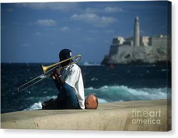 The Trombonist Canvas Print by James Brunker