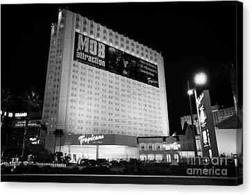 the tropicana hotel and casino at night Las Vegas Nevada USA Canvas Print