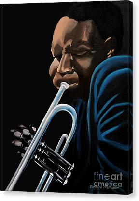 Canvas Print featuring the painting The Trumpeter by Barbara McMahon