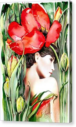 Canvas Print featuring the painting The Tulip by Anna Ewa Miarczynska