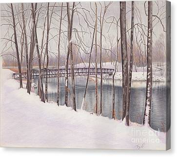 The Tulip Tree Bridge In Winter Canvas Print by Elizabeth Dobbs
