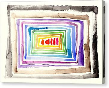 The Tunnel - Abstract Slash Watercolor Canvas Print by Tiberiu Soos