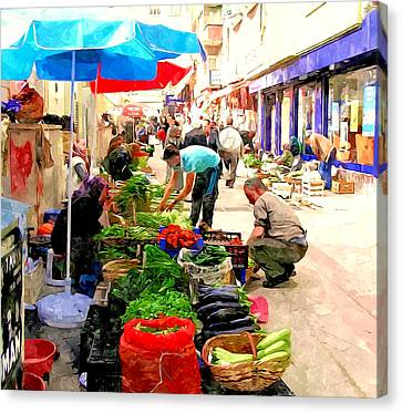 The Turkish Woman's Street-side Vegetable Market Canvas Print by Lanjee Chee