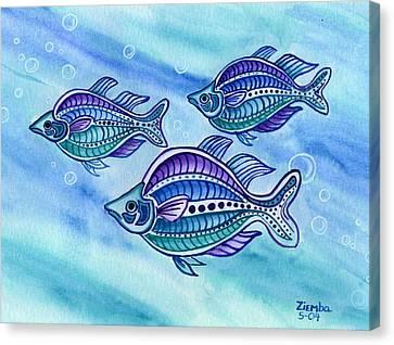 The Turquoise Rainbow Fish Canvas Print by Lori Ziemba