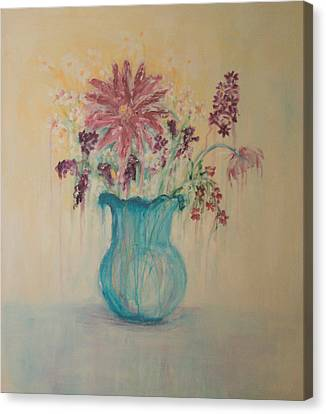 The  Turquoise Vase Canvas Print by Kathy Peltomaa Lewis