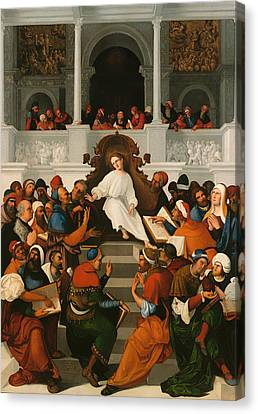 The Twelve-year Old Jesus Teaching In The Temple Canvas Print by Mountain Dreams