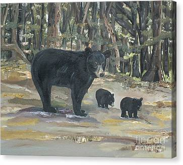 Canvas Print featuring the painting Cubs - Bears - Goldilocks And The Three Bears by Jan Dappen
