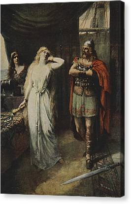 Arthurian Legend Canvas Print - The Two Stood Silent Looking At Each by Ferdinand Leeke