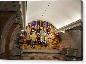 The Underground 2 - Victory Park Metro - Moscow Canvas Print by Madeline Ellis