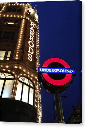 The Underground And Harrods In London Canvas Print
