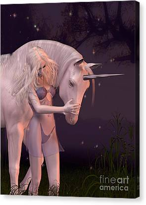 The Unicorn And The Virgin Canvas Print by Fairy Fantasies