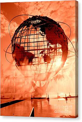 The Unisphere And Fountains Canvas Print by Ed Weidman
