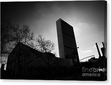 The United Nations Building Backlit New York City Canvas Print by Joe Fox