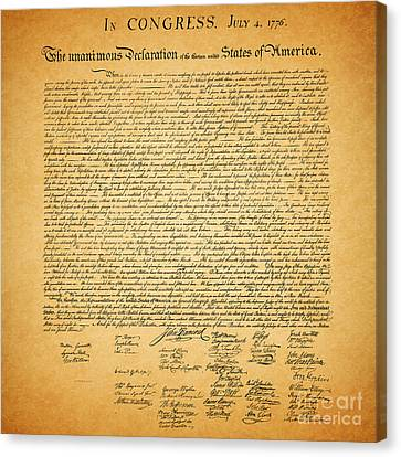 The United States Declaration Of Independence - Square Canvas Print by Wingsdomain Art and Photography