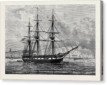 The United States Frigate Constellation With Relief Stores Canvas Print by American School