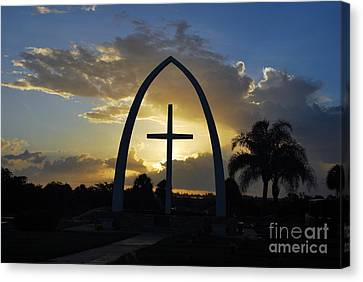 The Universal Cross At Sunrise Canvas Print by Bob Sample