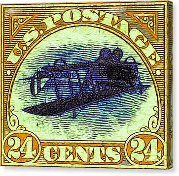 The Upside Down Biplane Stamp - 20130119 - V3 Canvas Print