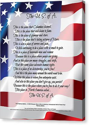 The U.s.a. Flag Poetry Art Poster Canvas Print by Stanley Mathis