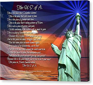 The Usa Statue Of Liberty Poetry Art Poster Canvas Print by Stanley Mathis