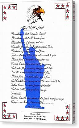The Usa Statue Of Liberty Poetic Art Poster Canvas Print by Stanley Mathis