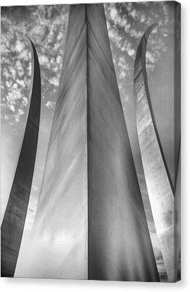 U.s. Air Force Canvas Print - The Usaf Memorial In Black And White by JC Findley