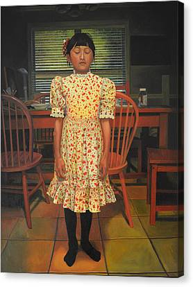 Canvas Print featuring the painting The Valentine Dress by Thu Nguyen