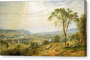 The Valley Of Wyoming Canvas Print by Jasper Francis Cropsey