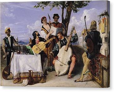Lute Canvas Print - The Venetian Concert Oil On Panel by Alexandre-Jean-Baptiste Hesse