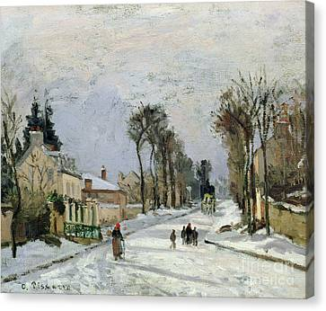 Winter Roads Canvas Print - The Versailles Road At Louveciennes by Camille Pissarro