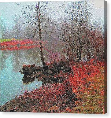 The View Across The Rideau On A Foggy Morning Canvas Print by Mario Carini