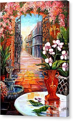 The View From A Courtyard Canvas Print by Diane Millsap