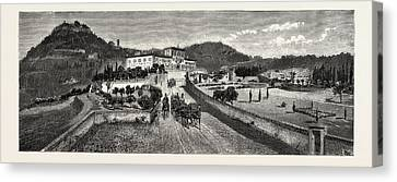 Villa Canvas Print - The Villa And Gardens From The Road, The Villa Palmieri by Italian School