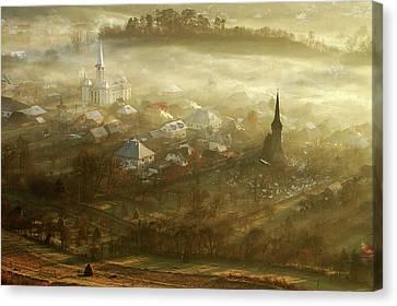 The Village Born From Fog... Canvas Print